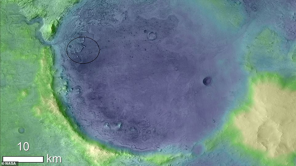 NASA has sent a number of orbiters to Mars, which allowed them to find Perseverance's target – the 28-mile Jezero Crater (pictured). The Jezero Crater is thought to be an extinct lake and is also close to curious rock formations, all of which are of great scientific interest back on Earth