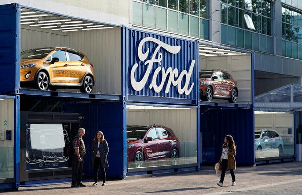 A Ford display at the 2019 International Auto Show in Frankfurt. Ford plans to spend $1 billion to overhaul its main European plant, in Cologne, Germany, to produce electric vehicles.
