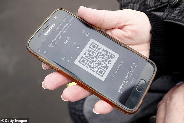 Eight firms have been awarded Government grants to develop vaccine passport technology, many of which use scannable QR codes (file)