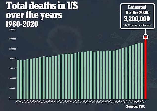 Preliminary CDC figures suggest 2020 will be the deadliest year in U.S. history with more than 3.2 million deaths (above)