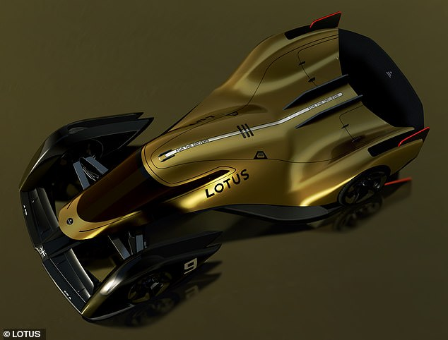 The adjustable bodywork means the race is 'partly driven like a car and partly flown like a fighter jet,' says Lotus' engineers