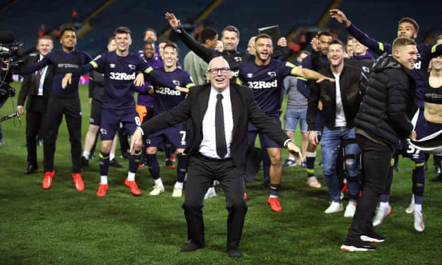 Derby's owner, Mel Morris, enjoys the play-off semi-final win over Leeds in 2019. The club lost the final to Aston Villa.