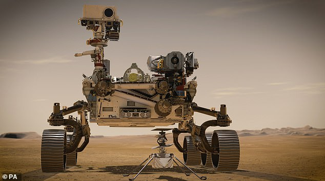 The six-wheeled vehicle, which is the same size as a large car, is also accompanied by an autonomous four pound (1.8kg) helicopter called Ingenuity which will study Mars's atmosphere