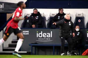 West Bromwich Albion manager Sam Allardyce watches from the bench.