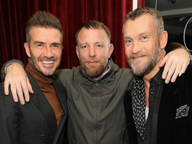 Friends in high places: Bjorgolfsson with David Beckham (left) and Guy Ritchie (centre)