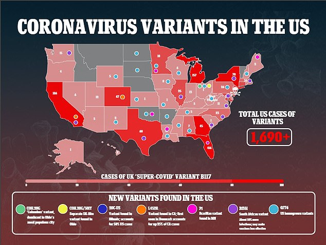 Researchers hope this will help protect against variants of the coronavirus like those that arose in the UK, South Africa and Brazil and have spread across the U.S. (above)