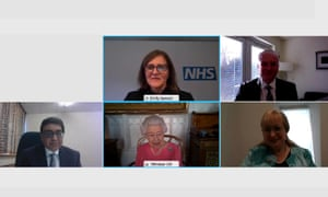 Queen Elizabeth speaks via video call to health leaders delivering the COVID-19 vaccine across the UK