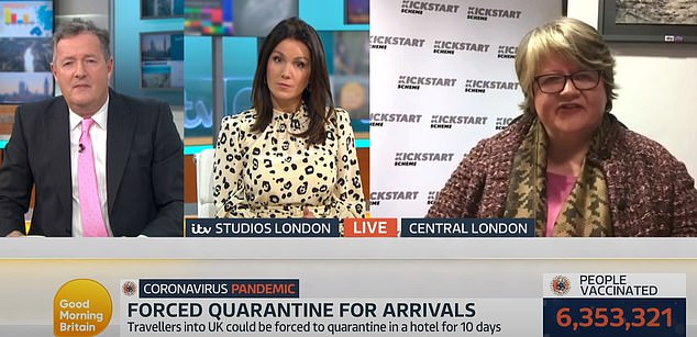 Ms Coffey pictured during her interview on Good Morning Britain. The conversation went quickly downhill, with Ms Coffey cutting short the interview