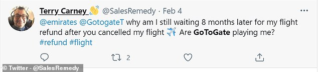 Another user said they have been waiting 8 months for a refund for their cancelled flights