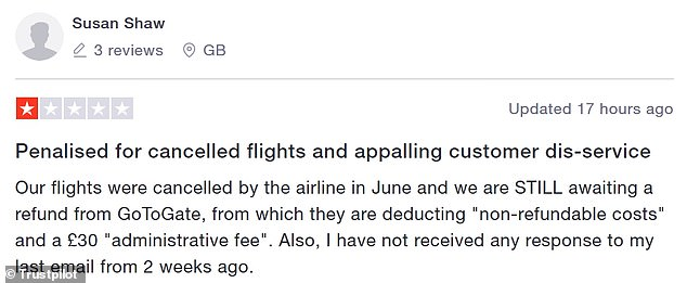 Customers have been left frustrated after not having sufficient contact with Go to Gate