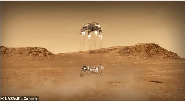 The craft will then attempt the same maneuver for landing as the Curiosity did in 2012 using the sky crane.Nylon cords will lower Perseverance 25 feet below and after it touches down on the Martian surface, the cords will detach and the sky crane will fly away