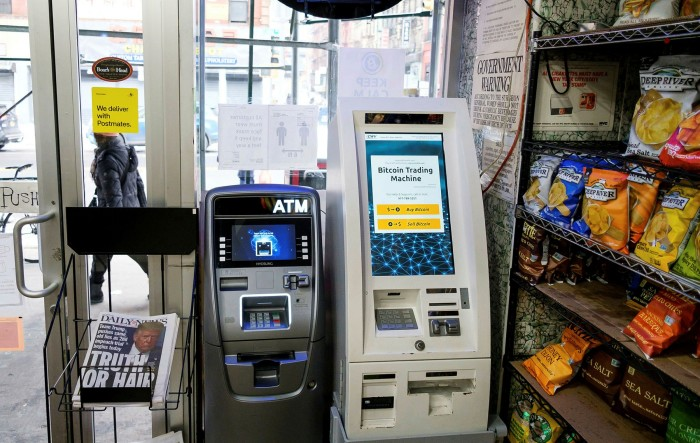 A Bitcoin automatic teller in a store in New York