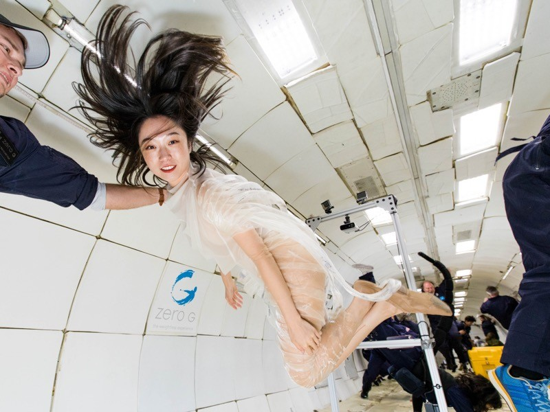 Xin Liu performs Mollastica in MIT Media Lab Space Exploration Initiative's annual parabolic flight.