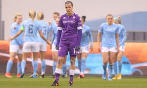 Fiorentina's Valery Vigilucci looks dejected after conceding her side's second goal scored by Ellen White of Manchester City.