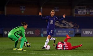 Chelsea's Sophie Ingle concedes a penalty for a foul on Atletico Madrid's Rasheedat Ajibade.