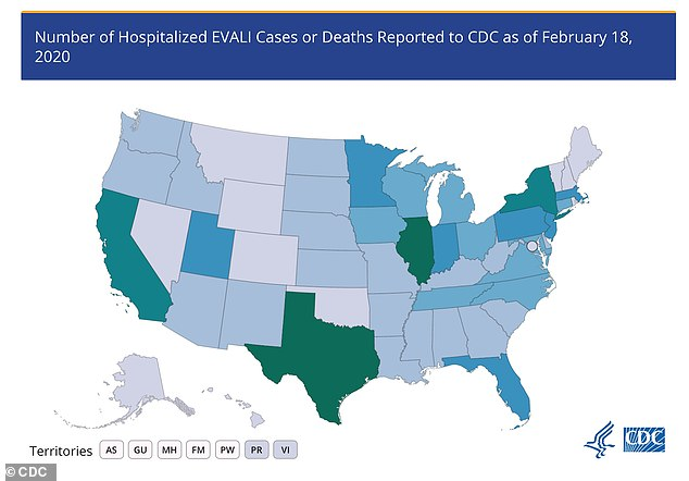 Recently, vaping pot was linked to a lung disease known as EVALI, which hospitalized more than 2,000 Americans and killed 68 people. Green indicates 200-249 cases per state while gray indicates 1-9 cases per state