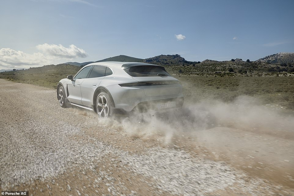 The range-topping car we drove in the UK is the £139,910 Taycan Turbo S Cross Turismo. In normal mode it develops 625 horse-power (460 kW) rising to 761 horsepower (560 kW) in launch-control over-boost which propels two electric motors – one per axle – with a two-speed gear-box on rear