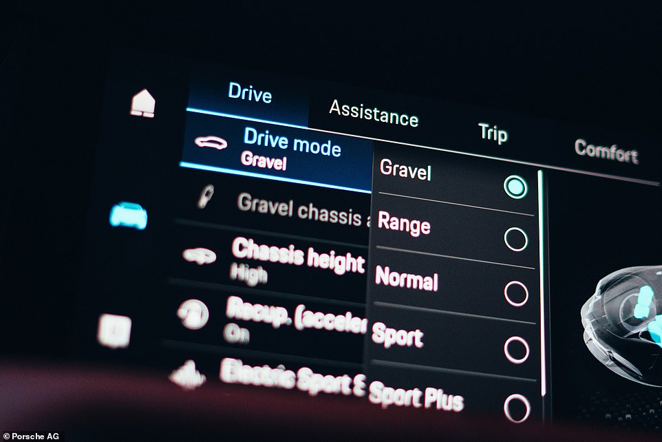 In addition to the standard driving modes on the Taycan saloon - Range, Normal, Sport and Sport Plus – the Cross Turismo also has a Gravel mode for mild off-roading
