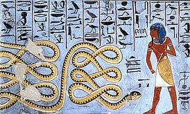 Apophis is pictured as a serpent