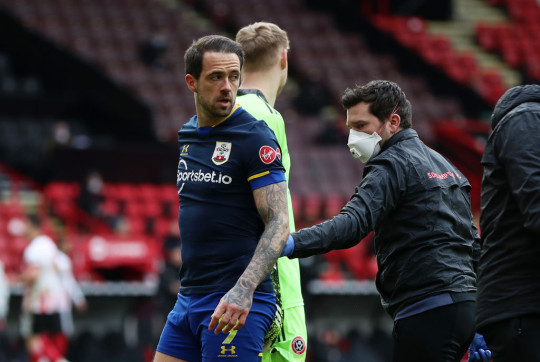 Danny Ings goes off with an injury during Southampton's Premier League clash with Sheffield United
