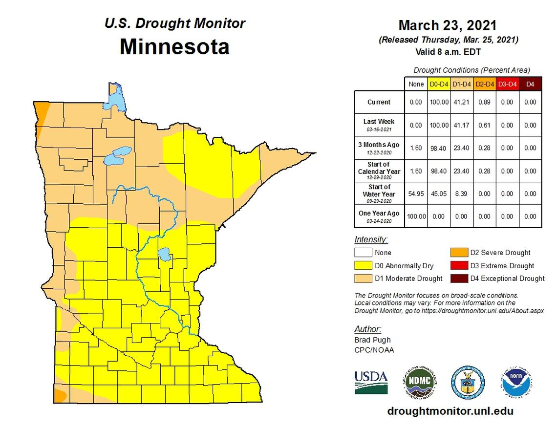 Portions of western and northwestern Minnesota are in the moderate drought category. National Weather Service / Special to The Forum