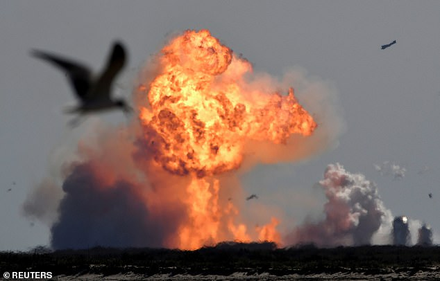Then came the next prototype, SN9, which SpaceX had high hopes of landing when it attempted its high altitude test flight in February - but this prototype exploded as well