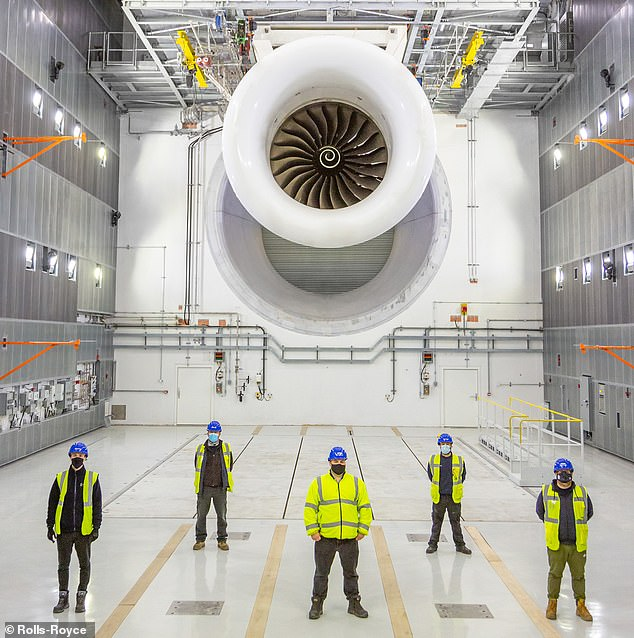 Fututristic: Trent engines at Rolls-Royce's new £90million testing facility ¿ a 'cathedral of space' with ultra-thick walls to limit noise