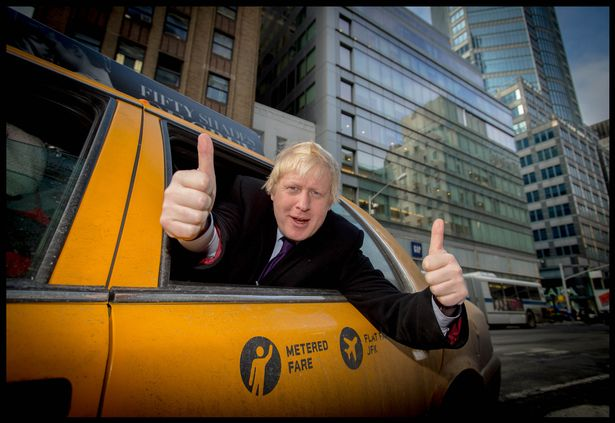 Boris Johnson gives the thumbs-up in a yellow cab in the Big Apple