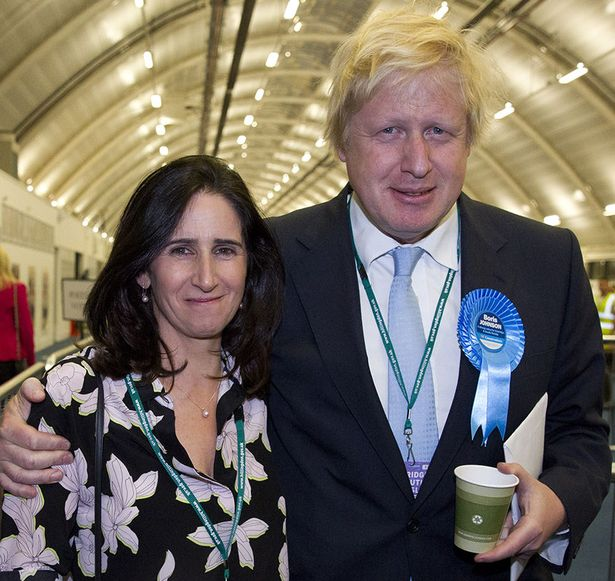Boris Johnson with his then-wife Marina Wheeler after he won his seat in Uxbridge, west London, on May 8, 2015