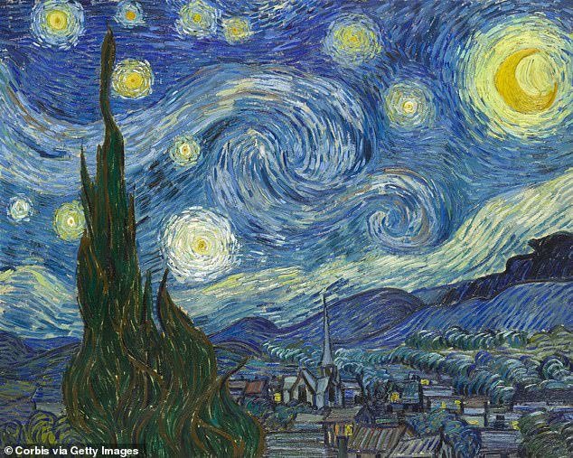 Pictured is Vincent van Gogh's famous painting 'Starry Night', which inspired the name for Maratus constellatus, reported on in 2020