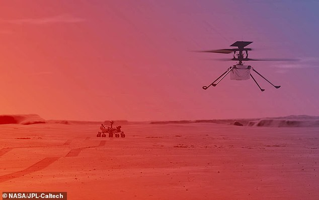 An illustration of NASA's Ingenuity Helicopter on Mars.The space agency confirmed that the 30 days 'test flight window' for the rotorcraft will begin 'no earlier than the first week of April'