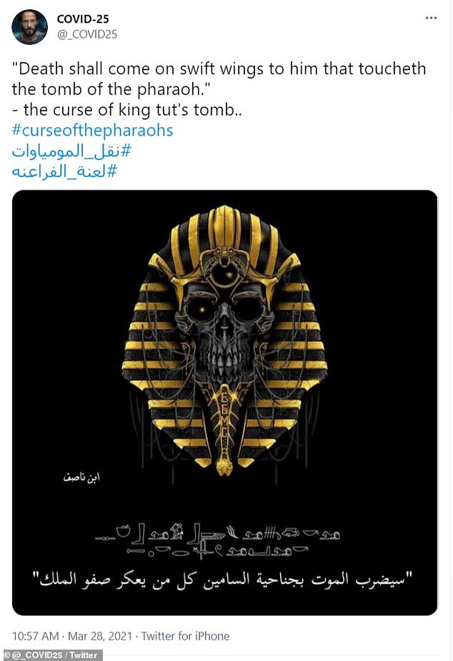 Social media users are blaming such events on the curse of the pharaohs that says: 'Death will come on quick wings for those who disturb the king's peace.'