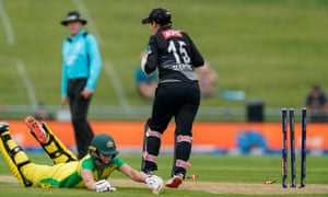 Australia's captain Meg Lanning is run out.