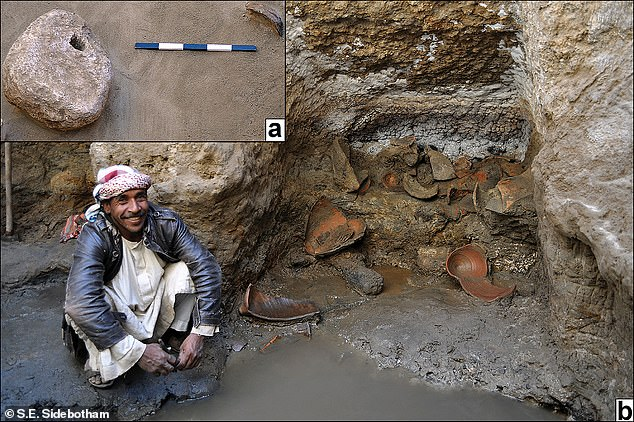 Pictured: Gypsum counterweight (inset) and fragments of amphora buckets found in the well's southwest niche. Wood charcoal from hearths found near the bottom of the well suggests the complex was used as a basic shelter after the well had run dry