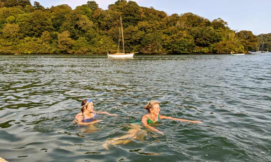 Swimmers in the water near Trelissick