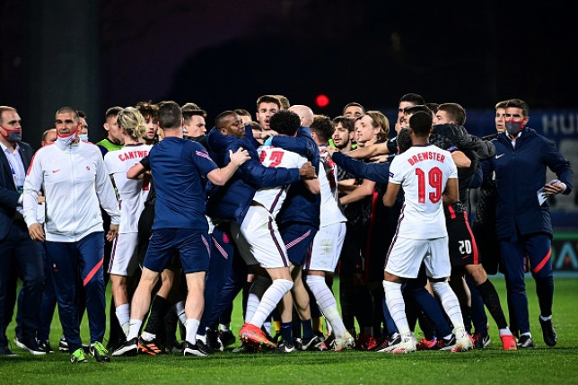 England and Croatia players scuffle after match