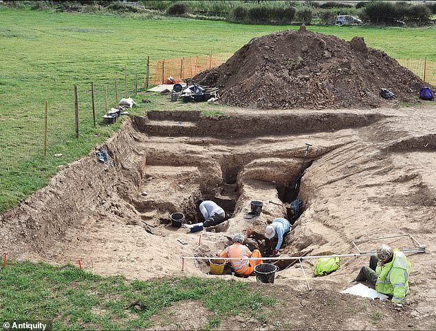 The oldest salt production site in Britain has been discovered by archaeologists in North Yorkshire. Pictured, archaeologists at work at the site in 2019
