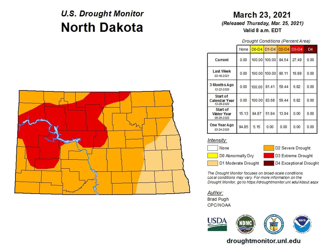 Most of eastern North Dakota and western Minnesota is now in moderate drought. National Weather Service / Special to The Forum