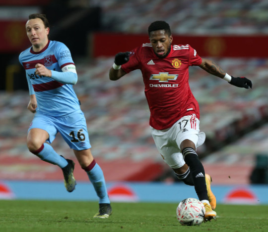 Fred in action for the Red Devils