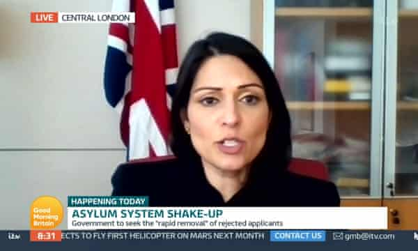 Priti Patel, home secretary, giving interview on TV about the government's shake-up of the asylum system