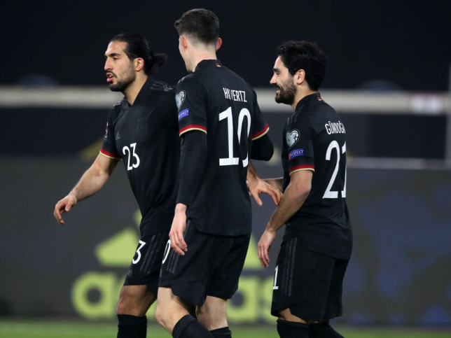 Emre Can, Kai Havertz and Ilkay Gundogan celebrate in Germany's World Cup qualifier with Iceland