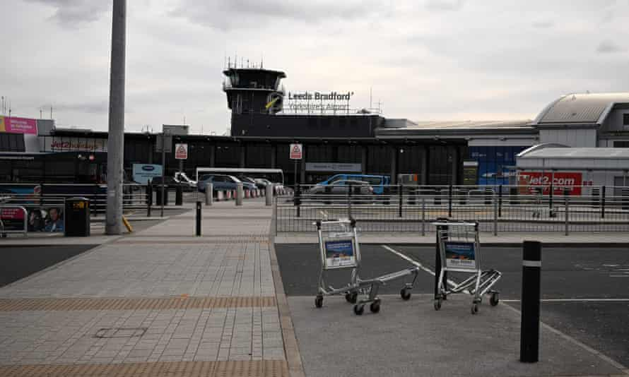 A near-deserted Leeds Bradford airport during the first lockdown