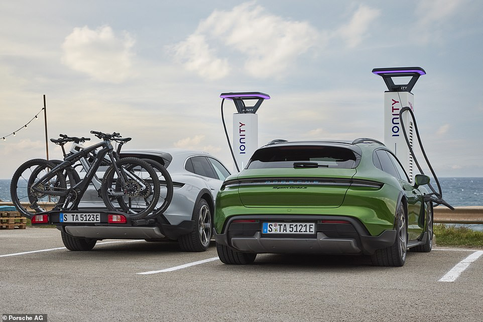 Jack of all trades: This is the new Porsche family car, which also doubles as an estate, or an SUV, or even a carrier for your expensive bicycles