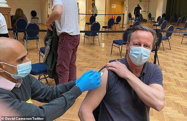 David Cameron today became the latest former Prime Minister to get a coronavirus vaccine