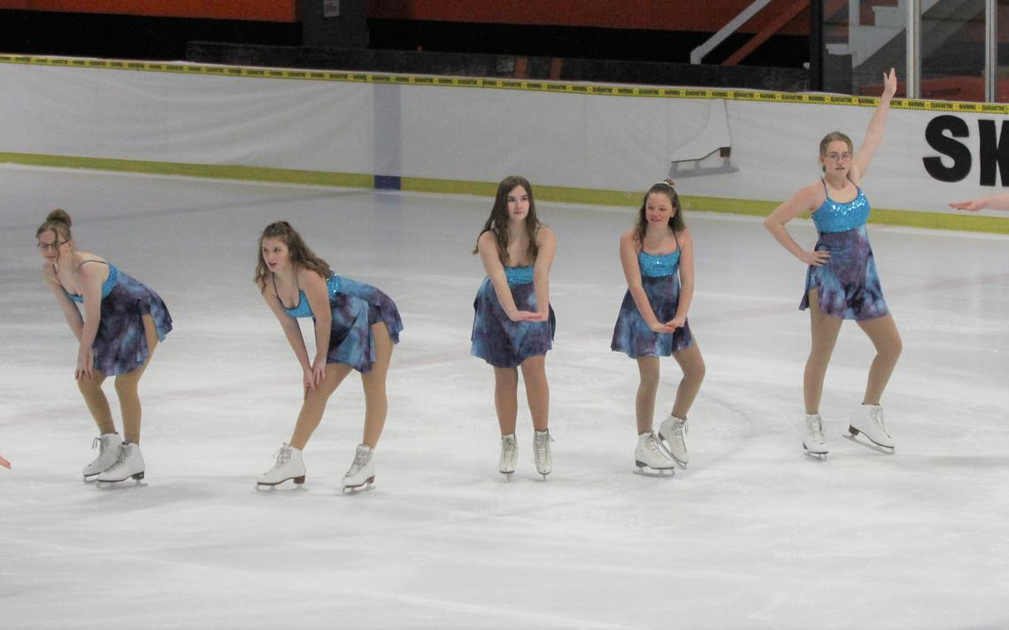 "Brenna Behrens (from left), Elise Torma, Eva Warrington, Janae Torma, Avery Ross, Ella Marotte and Adrienne Cook were among a group of skaters who opened the Park Rapids Figure Skating Club's 32nd Annual Ice Show by performing to the song ""Beat It"" at the Ted O. Johnson Ice Arena on Saturday, Feb. 27. ""SkateDemic"" was the theme of this year's show, which featured 38 skaters."