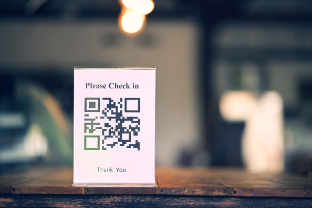 Code badge for checking in to sign in to a location for tracking infected groups