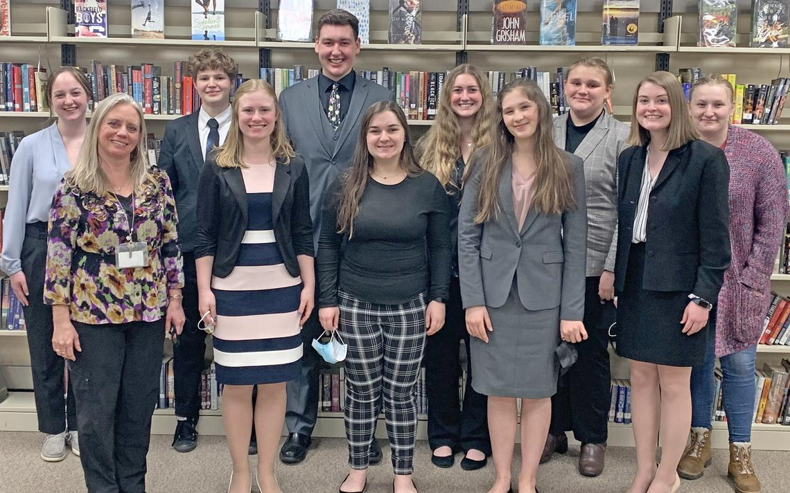The Park Rapids varsity speech team took first place at the Melrose invitational on Saturday, March 27. Representing their school with distinction are, front from left, Coach Tanya Miller, Brenna Behrens, Mackenzie LaFerriere, Maeve Bolton, Nadia Yliniemi; back row, Emma Ravnaas, Jack Worner, Kiergon Wilkins, Desarae Kohrs, Reese Hanson and Nadia Yliniemi. (Submitted photo courtesy of Tanya Miller, March 29, 2021)