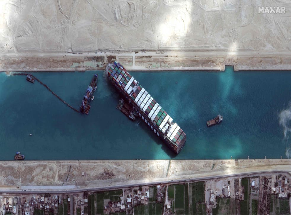 Satellite imagery released by Maxar Technologies shows the Ever Given on the morning of 28 March
