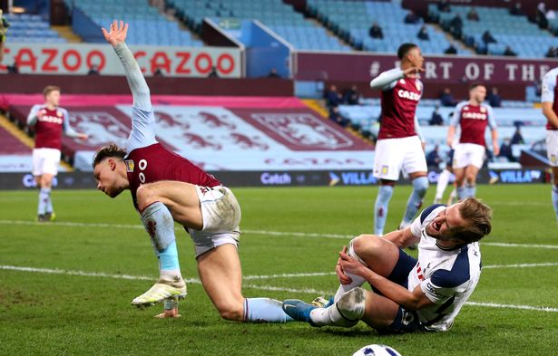 Harry Kane won a penalty after he was adjudged to have been fouled by Aston Villa full-back Matty Cash in Tottenham's 2-0 win on Sunday
