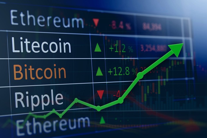 A green charting arrow on the rise on top of a table on well-known cryptocurrency names.